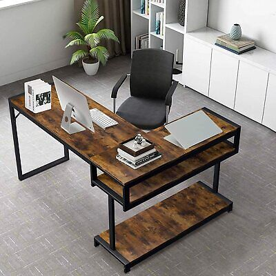 L-Shaped Desk with Hutch, 66″ Large Computer Desk Gaming Table PC Table Furniture
