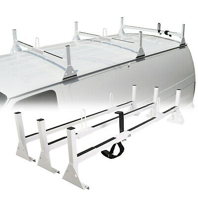 Work Van 3-Bar Ladder Roof Rack Cross Bar Cargo Carrier Fit Express Savana Ford 3 Bar Cross