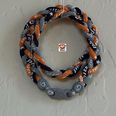 - Phiten Titanium Triple Braid Necklace: Gray/Black/Burnt Orange Custom