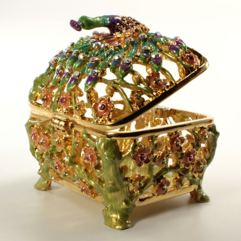 Bejeweled Peacock Embellished Trinket Box, Faberge  Figurine With Crystals In Go