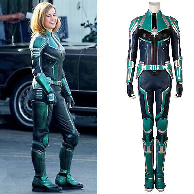 Captain Marvel Ms. Carol Danvers Overall Grün Version Cosplay Kostüm Party NEU