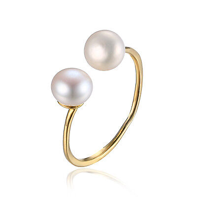 Princess Pearl  Engagement Rings 925 Sterling Silver 18k Gold Plated Size N