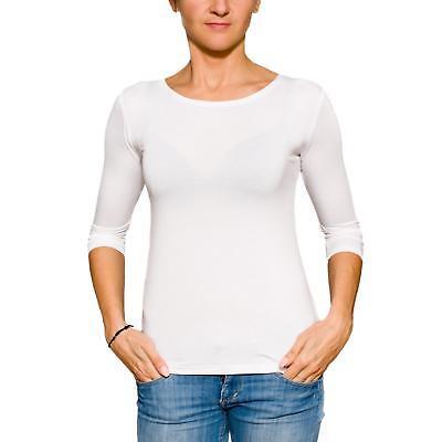 3/4 Arm Shirt Longsleeve Damen Basic Shirt Rundhals Stretch-Viskose - 3/4 Sleeve Shirt