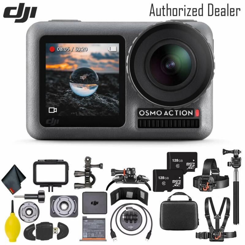 DJI Osmo Action 4K Camera - 128GB Memory Cardx2 - Mount Kit - Clean Cloth + More