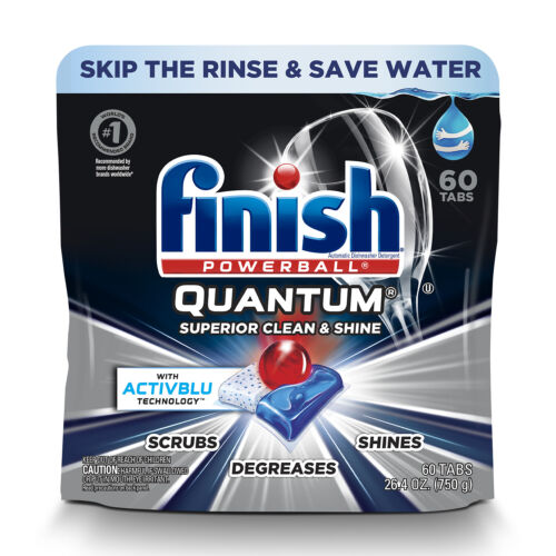 Finish Quantum, 60 ct, with Activblu Technology, Dishwasher Detergent Tabs