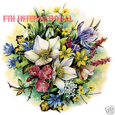 F05 ~ Classical Spring Flowers Bouquet Ceramic Decals, 7 1/2