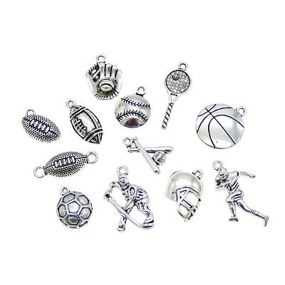 12pcs DIY Jewelry Making Silver Metal Charms Mix Lots Ball Game Pendants Crafts](Jewelry Making Games)