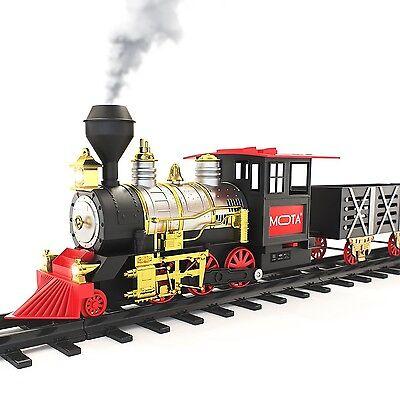 Traditional Christmas tree Big Train Set With Sounds Lights Smoke Xmas Gift