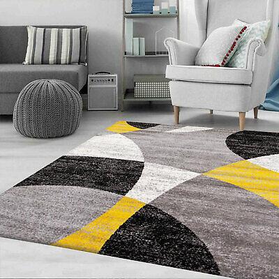 Wohnzimmer Teppich Geometrische Meliert in Grau Weiß Schwarz und Gelb