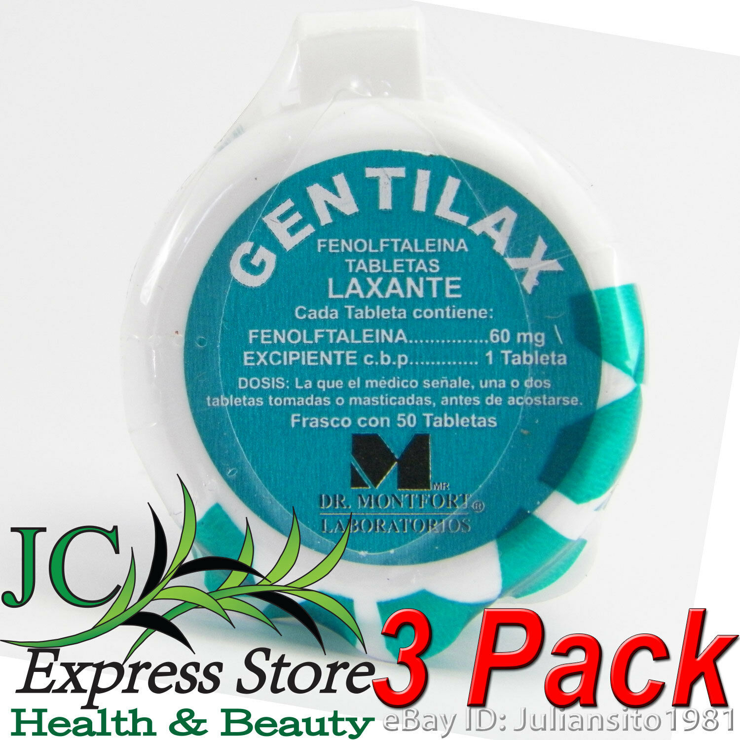 GENTILAX 3 PACK LAXATIVE PILLS/PILDORAS LAXANTES 150 PILLS TOTAL
