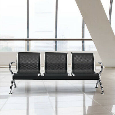 3-seat Airport Office Reception Waiting Room Chair Guest Salon Bench Black