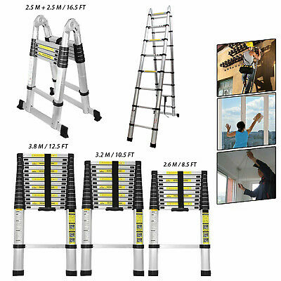 8.5-16.5ft Multi Purpose Aluminum Telescopic Ladder Heavy Folding Extension Step