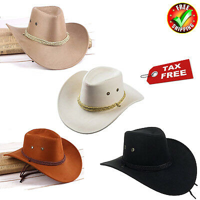 fca69a539f7 Men Women Faux Felt Western Cowboy Hat Fedora Outdoor Wide Brim Hat Strap  Black - Black
