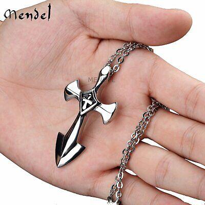 MENDEL Stainless Steel Sword Fine Cross Crucifix Christian Pendant Necklace
