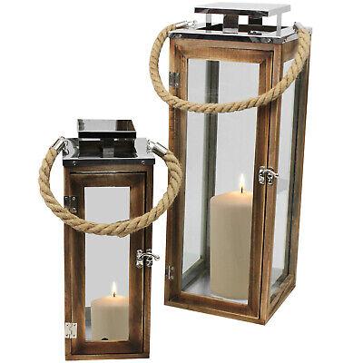 2tlg Laternen Set Holzlaterne Windlicht H34/50cm Dekolaterne Kerzenhalter Seil gebraucht kaufen  Wuppertal