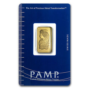 2 1/2 gram Pamp Suisse Gold Bar - Lady Fortuna - In Assay Card - SKU #19042