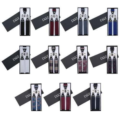 Unisex Suspenders Plain Paisley Polka Dot Leather Adjustable Mens Boys Braces