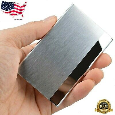 Pocket Aluminum Steel Metal Business Card Holder Case Id Credit Wallet Silver