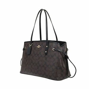 Coach Signature Drawstring Carryall Shoulder Bag Purse Handbag F57842