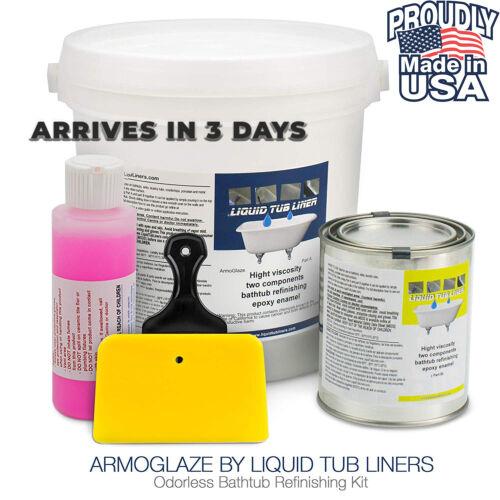 Odorless Bathtub Refinishing Kit, Made in USA, Pour-On Application, Mirror Glos