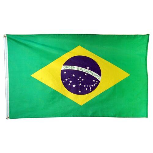 BRAZIL FLAG NEW 3X5ft BRAZILIAN FOOTBALL BANNER 90X150cm POLYESTER POLY FLAG