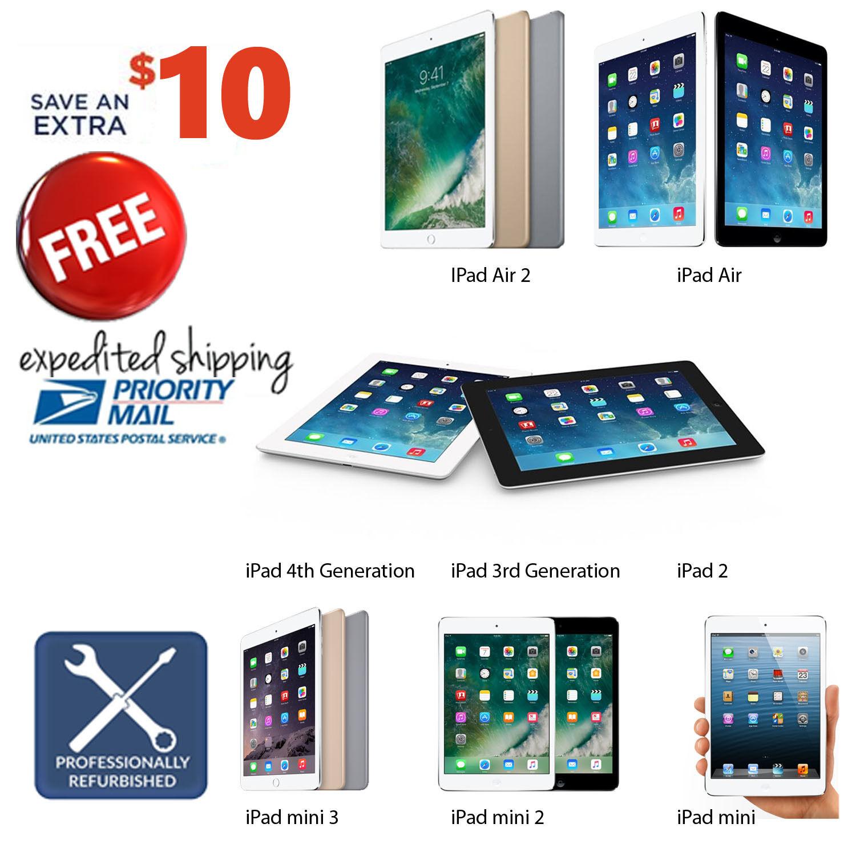 Apple iPad 2,3,4,Air or mini 16GB|32GB|64GB|128GB Pro-Refurbished WiFi Tablet