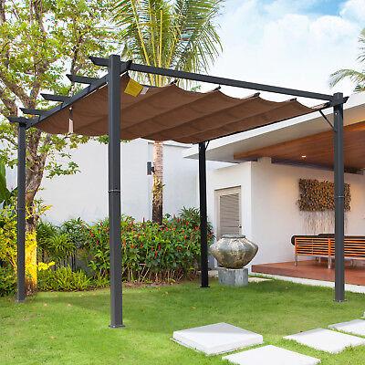 Pergola mit Schiebedach Pavillon Terrassenüberdachung Garten Alu 3x3m Braun ()