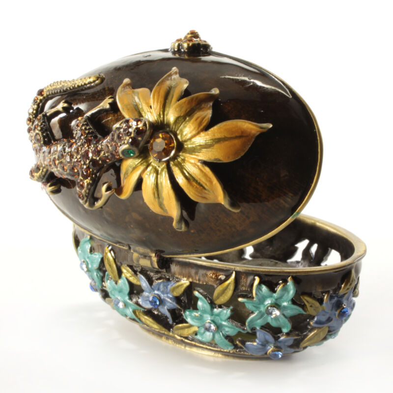 Jeweled Flower Motif Trinket Box With Lizard, Faberge  Figurine With Crystals
