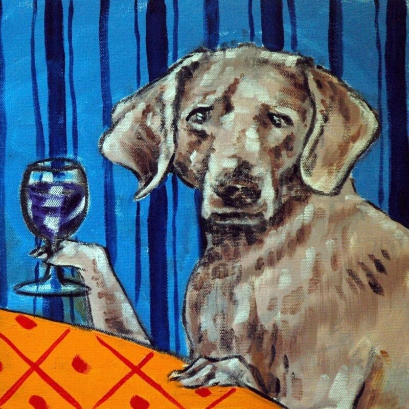 WEIMARANER wine picture dog art tile coaster