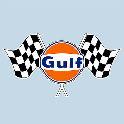 """Gulf twin chequered flag sticker 75 mm 3"""" wide decal - Officially licensed"""