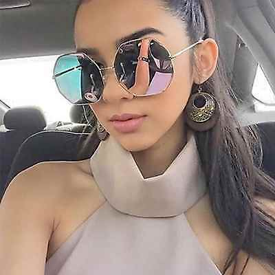 Octagon Mirrors (Oversized Women Fashion Sunglasses Octagon Metal Frame Pink Gold Mirrored Lens)