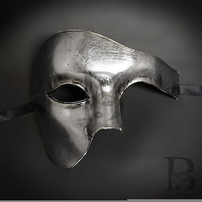Phantom of the Opera Venetian Masquerade Mask for Men Metallic Silver M2369 - Man Masquerade Masks