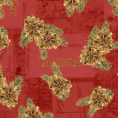 Christmas Memories-Metallic-Washington Street Studios-BTY-Pine Cones-Red B/G (Street Cones)