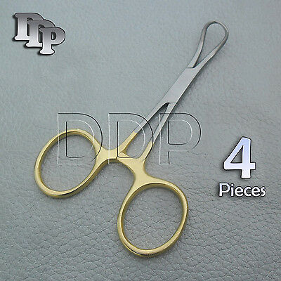 4 Backhaus Towel Clamps Forceps 3.5 Gold Plated Surgical Instruments