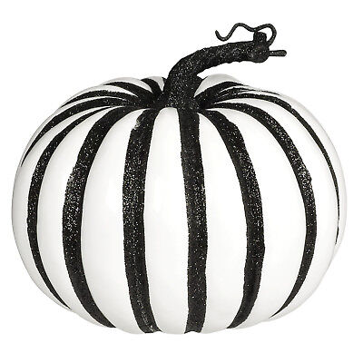 ty Large White Pumpkin Black Glitter Stripe Prop Decoration (White Christmas Party)