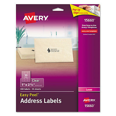 Avery Clear Easy Peel Mailing Labels Laser 1 X 2 58 300pack 15660
