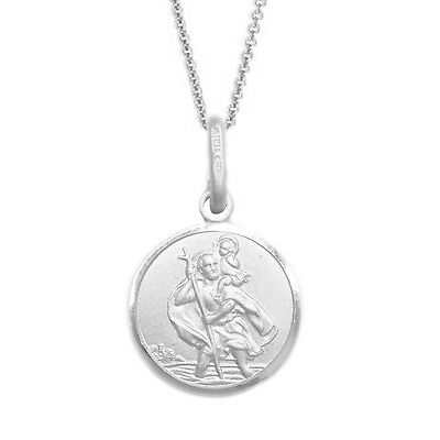 Sterling Silver Patron Saint St  Christopher Medal Charm Pendant Necklace 18