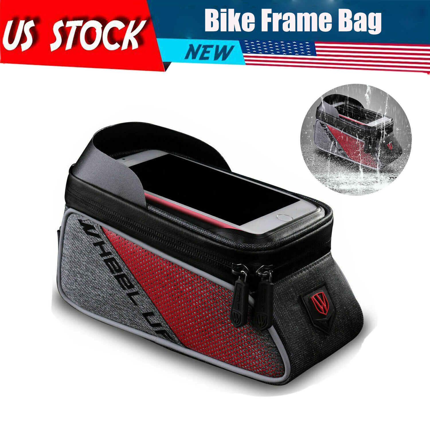 Bike Phone Holder Waterproof Cycling Bicycle Front Frame Top Tube Mount Bag Case Bags & Panniers