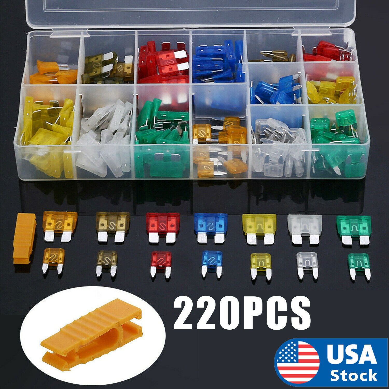 220pc Blade Fuse Assortment Auto Car Truck Motorcycle FUSES Kit ATC ATO ATM USA Car Audio & Video Installation
