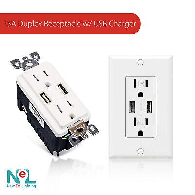 NEW ERA 15A Duplex Tamper Resistant Receptacle with Dual USB Charger 15a Duplex Receptacle