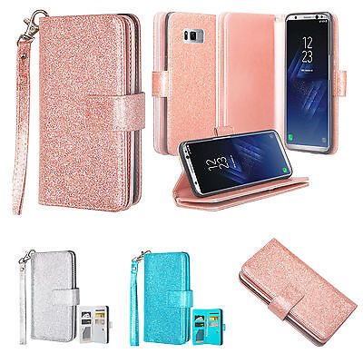 Samsung Galaxy S8, S8 Edge Plus, Glitter Faux Leather Wallet Case Cover -