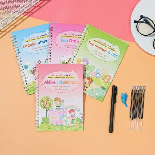 4PCS Sank Magic Practice Copybook Reusable Magical Handwriting Copybook English