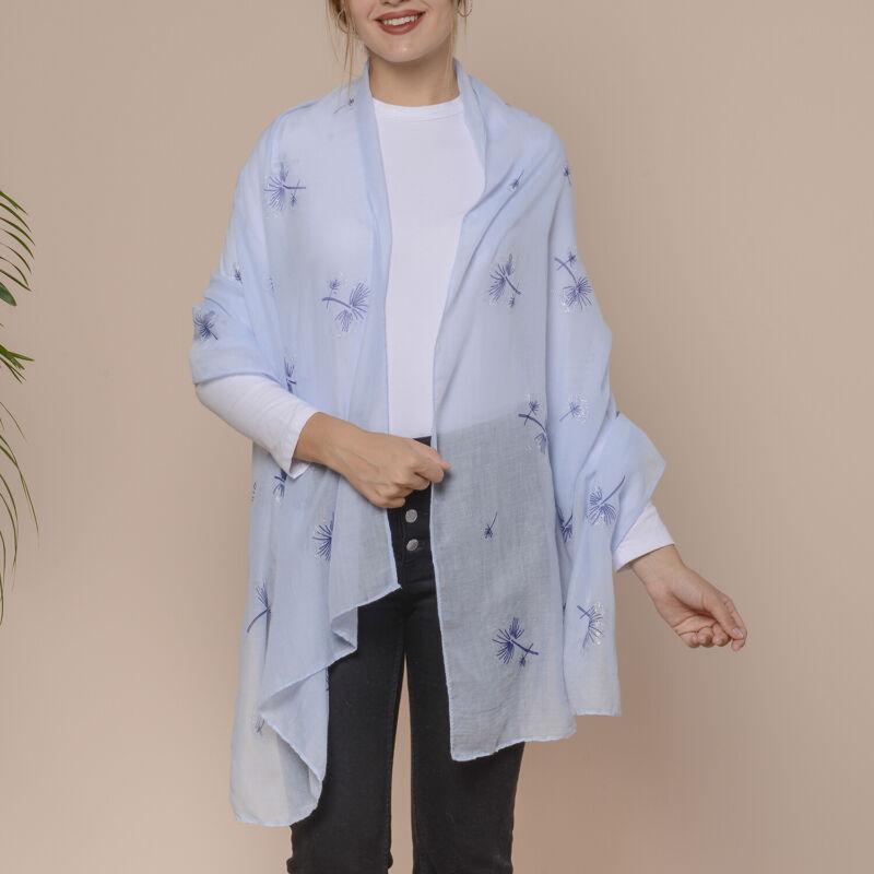 Sky Blue Dandelion Pattern Glitter Powder Fashion Scarf 100% Polyester