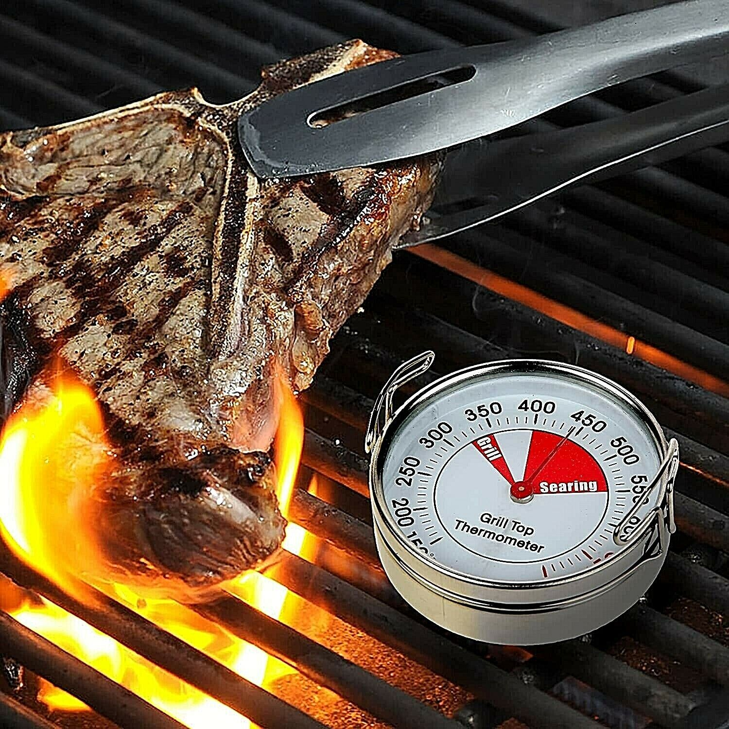 Grill Top Thermometer, 150 to 700 Wireless Grate Top Grill Surface Clip On NIB Cooking Thermometers