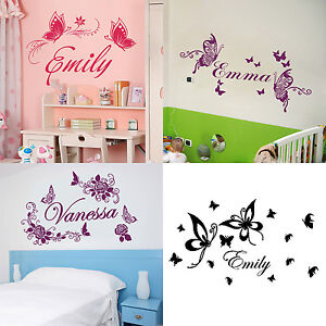 Personalized custom name butterflies flowers home room for Personalized home decor