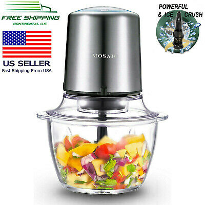 MOSAIC Galvanizing Food Processor, Food Chopper, Meat Grinder, Glass Bowl, 400W