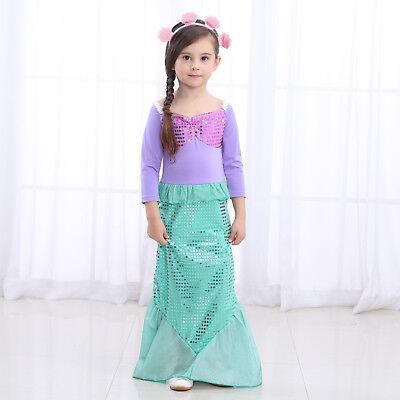 Girls Little mermaid Dress Princess  kids Costume Party Birthday Dress ZG8 - Little Mermaid Costume Teen