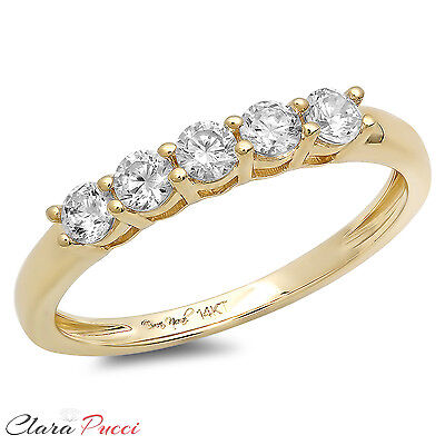 0.60 CT Round Cut 5-Stone Engagement Wedding Ring Band SOLID 14K Yellow Gold 14k Yellow Gold Wedding Ring