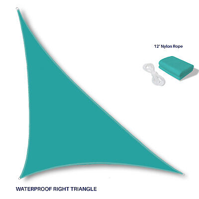 Waterproof Turquoise Right Triangle Sun Shade Sail Outdoor Canopy Awning Patio ()