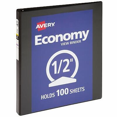 12 Inch Economy View 3 Ring Binder Round Ring Holds 8.5 X 11 Paper Black